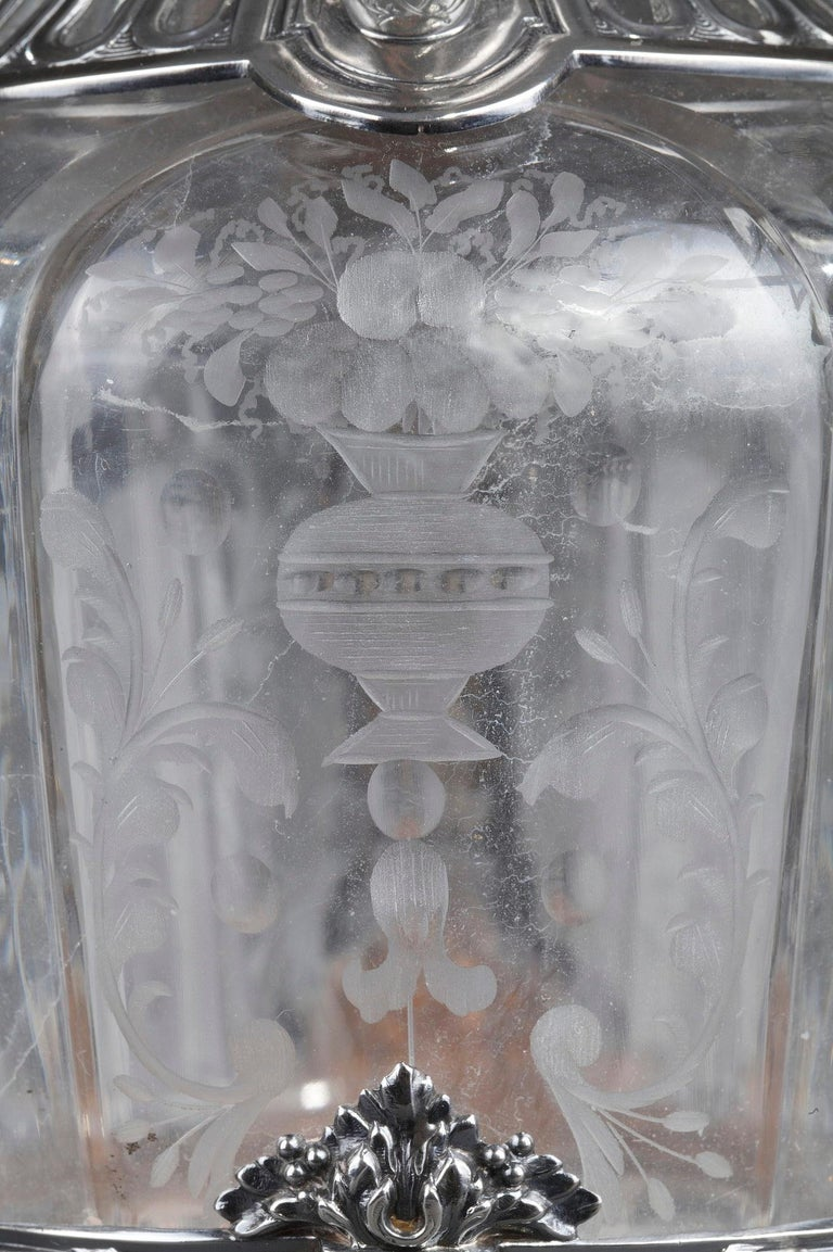 19th Century Silver Pair of Ewer and Crystal Engraved For Sale 7