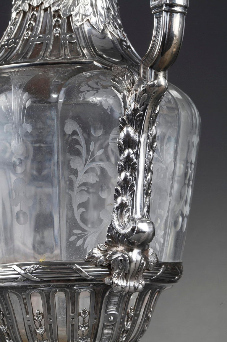 19th Century Silver Pair of Ewer and Crystal Engraved For Sale 12