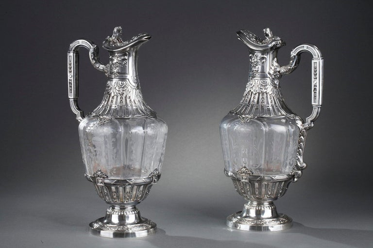 Art Nouveau 19th Century Silver Pair of Ewer and Crystal Engraved For Sale