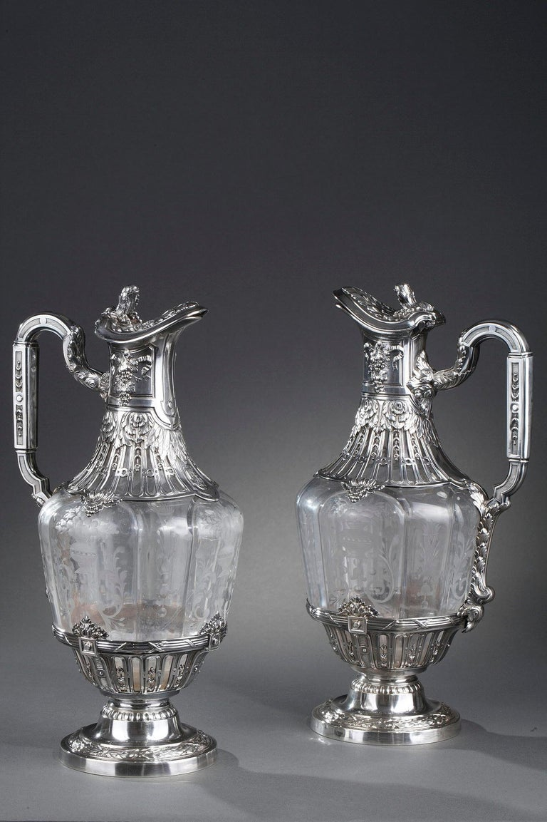 French 19th Century Silver Pair of Ewer and Crystal Engraved For Sale