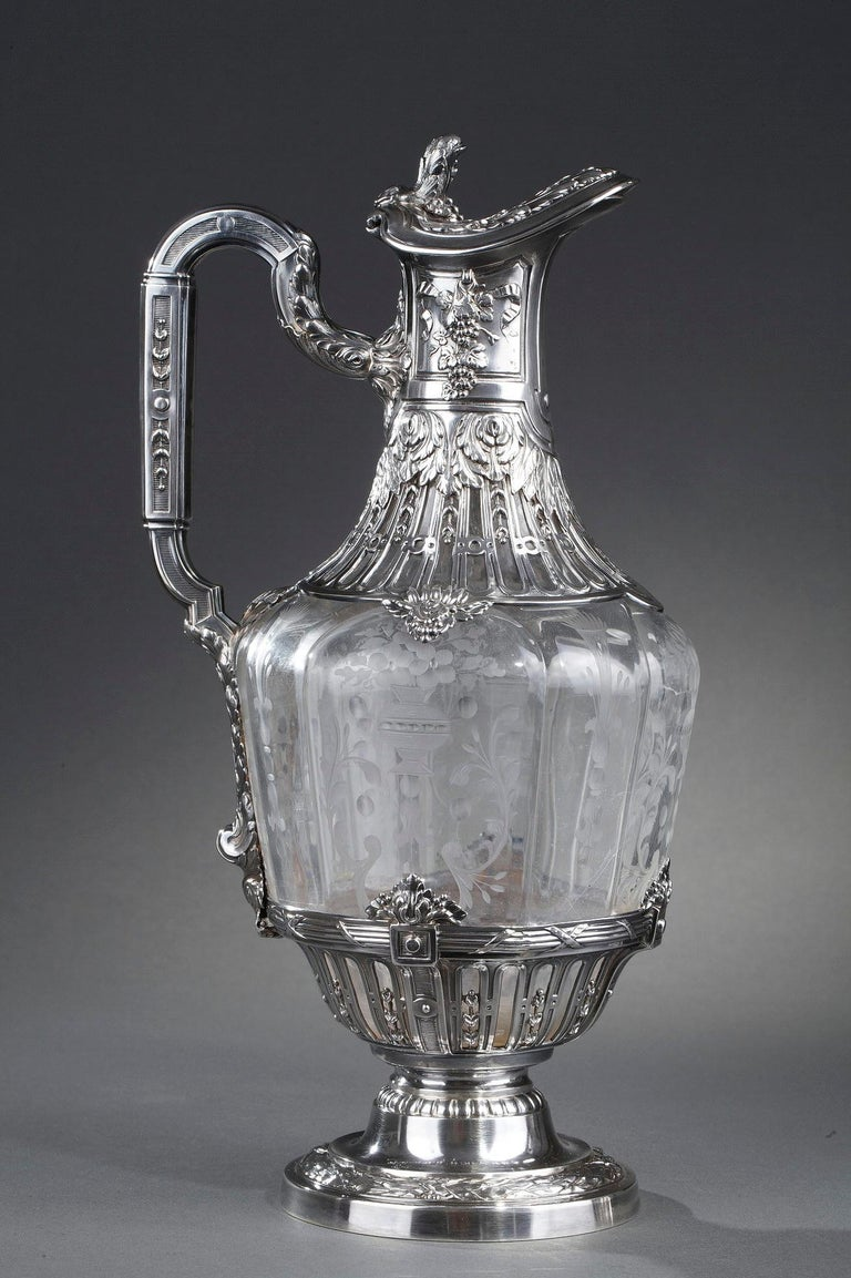 19th Century Silver Pair of Ewer and Crystal Engraved In Good Condition For Sale In Paris, FR