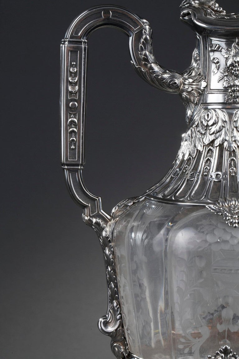 19th Century Silver Pair of Ewer and Crystal Engraved For Sale 2