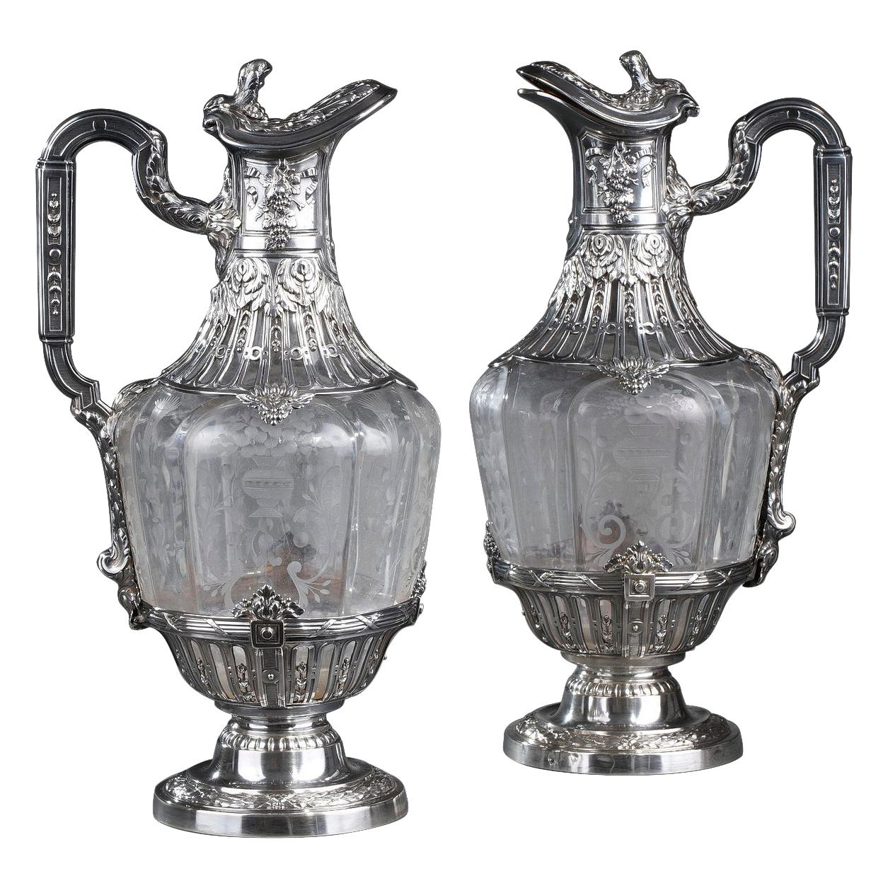 19th Century Silver Pair of Ewer and Crystal Engraved
