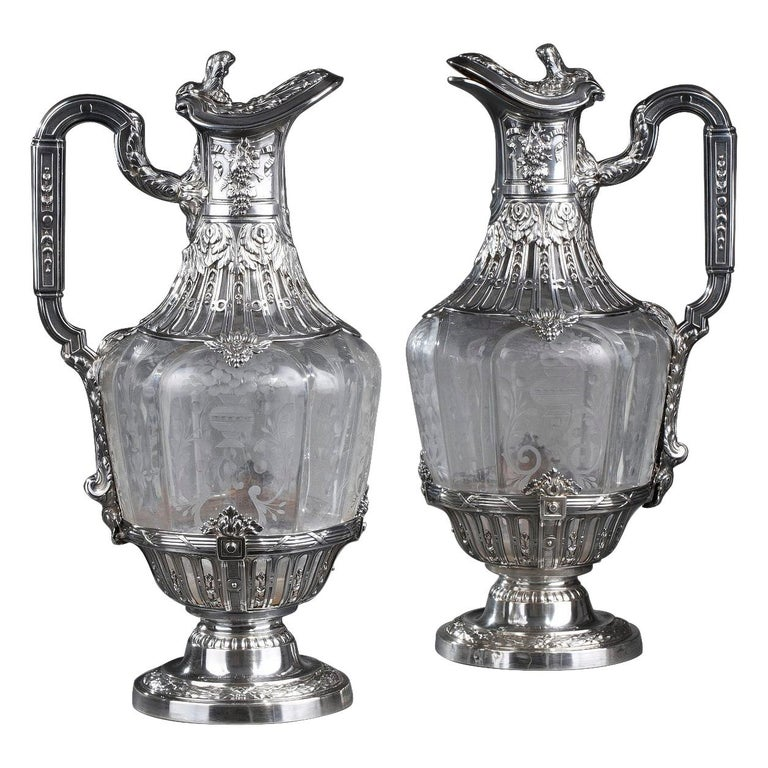 19th Century Silver Pair of Ewer and Crystal Engraved For Sale
