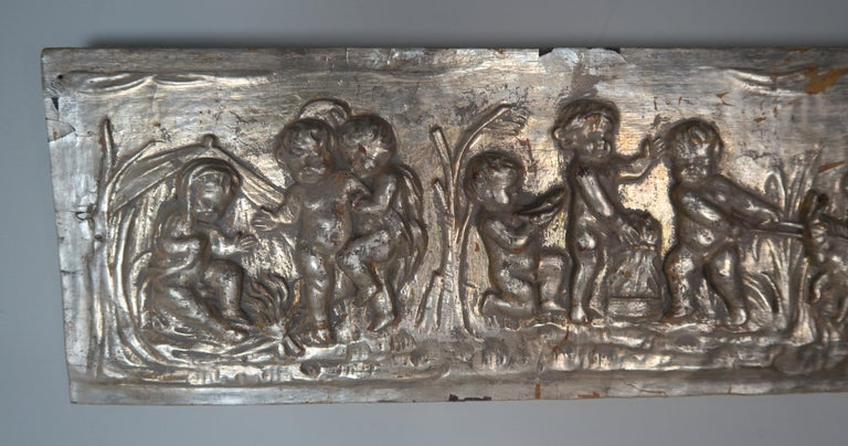 Hand-Carved 19th Century Silver Panel with Cherubs
