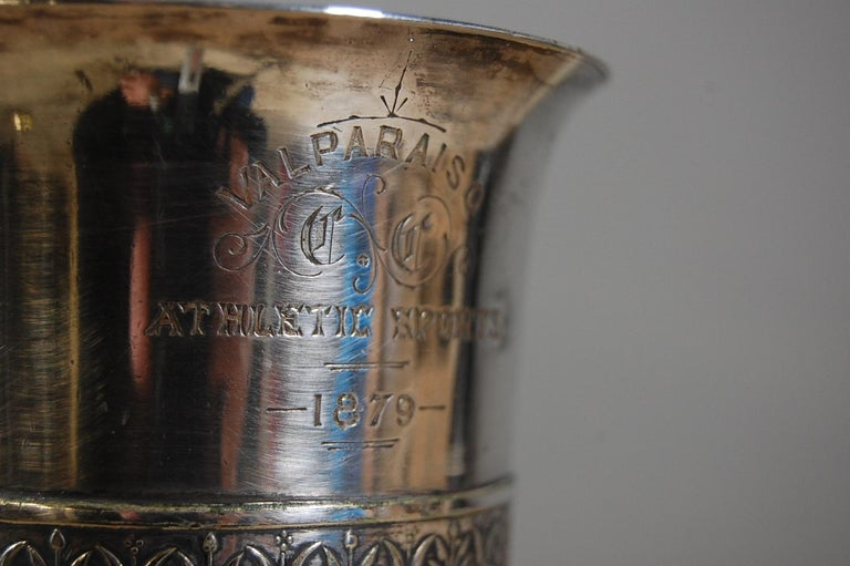 19th Century Silver Plate Athletic Trophy Valparaiso For Sale 5