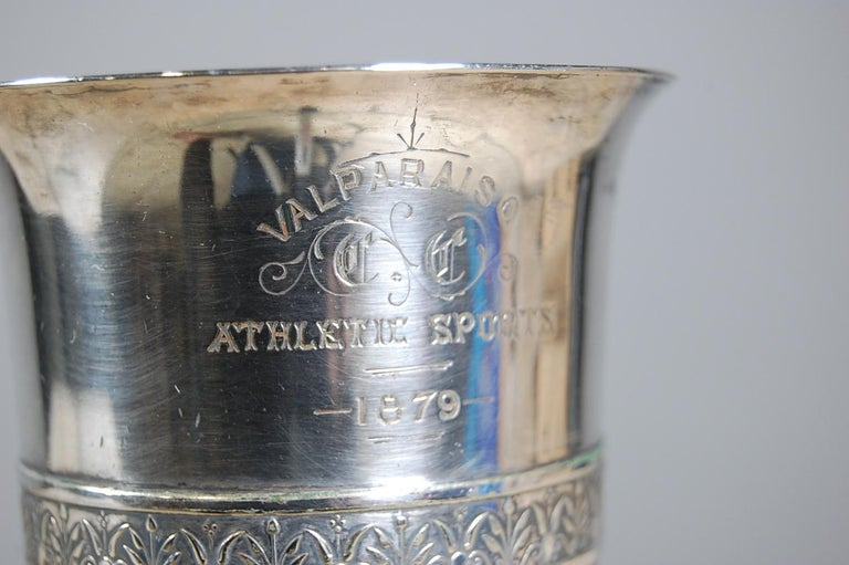 19th century silver plate athletic trophy or cup, reading