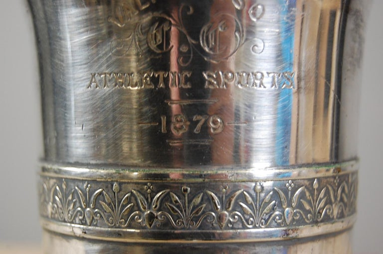 19th Century Silver Plate Athletic Trophy Valparaiso For Sale 3