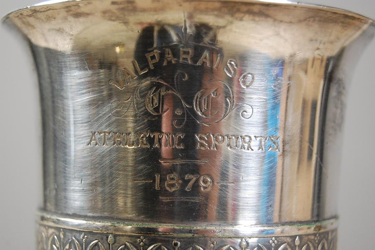19th Century Silver Plate Athletic Trophy Valparaiso For Sale 4