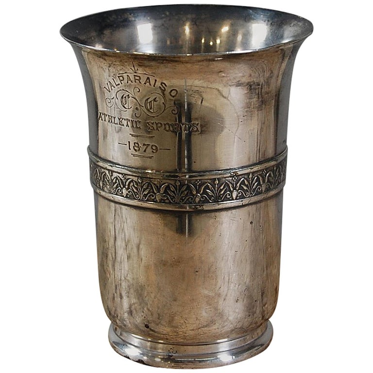 19th Century Silver Plate Athletic Trophy Valparaiso For Sale