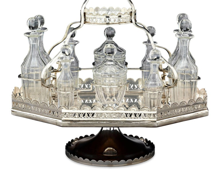 Unknown 19th Century Silver Plate Epergne and Cruet Service For Sale