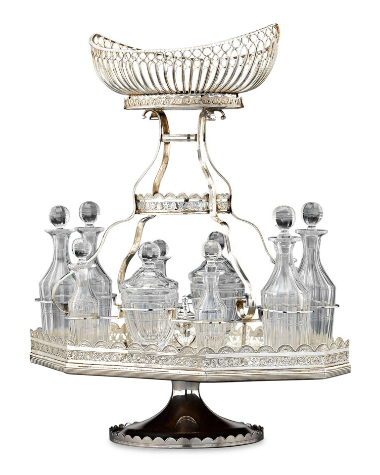 19th Century Silver Plate Epergne and Cruet Service For Sale 1