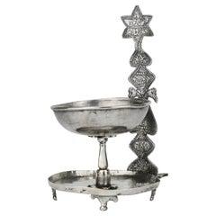 19th Century Silver Shabbat Oil Lamp, Afganistan