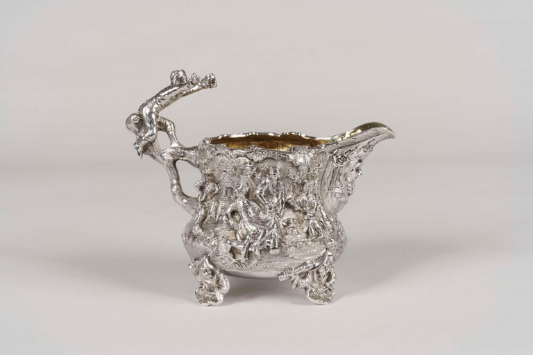 Renaissance Revival 19th Century Silver Tea & Coffee Service Made by Joseph Angell For Sale