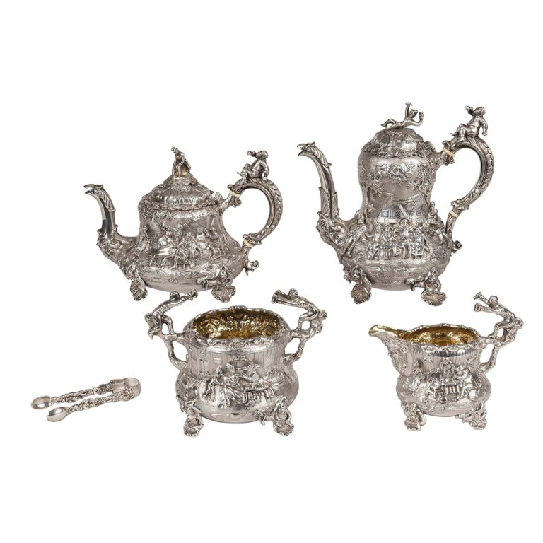 19th Century Silver Tea & Coffee Service Made by Joseph Angell For Sale