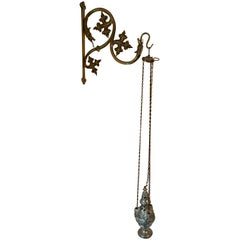 19th Century Silvered Brass Catholic Church Incense Burner with Gothic Bracket