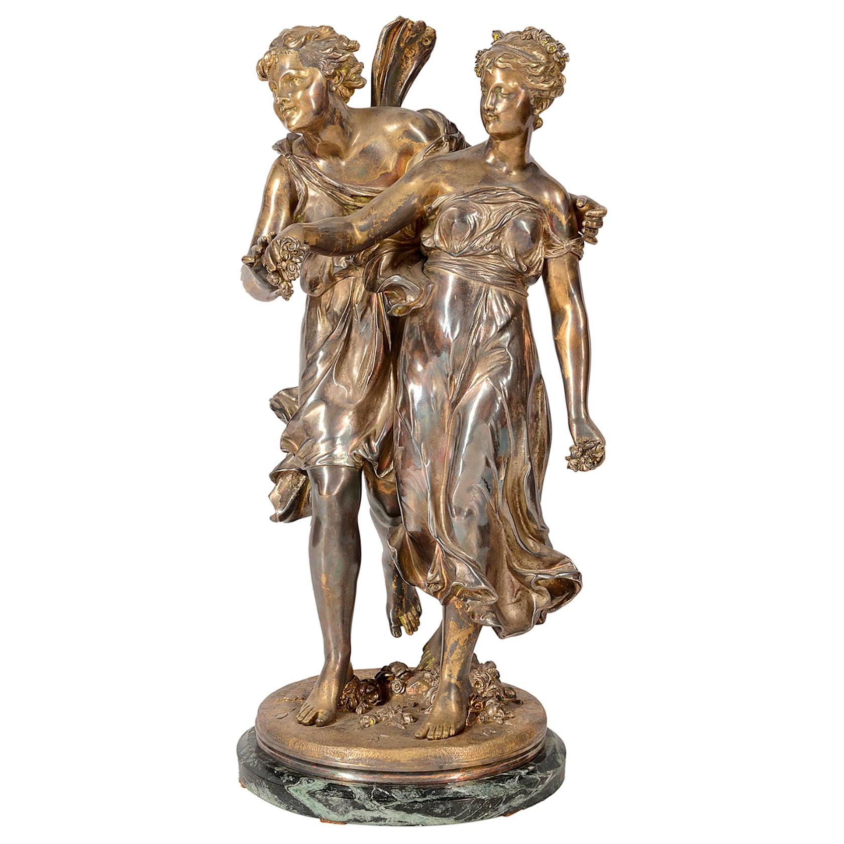 19th Century Silvered Bronze Statue of Cherub and Maiden, by 'Dumaige'