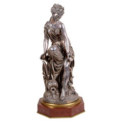 19th Century Silvered Bronze Statue of Classical Maiden, by Jean-Louis Gregoire