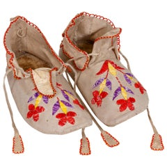 19th Century Sioux Quilled Moccasins