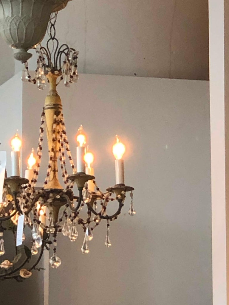 19th Century Six Arm Iron & Wooden Chandelier In Good Condition For Sale In Boston, MA