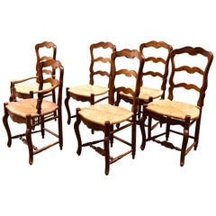 19th Century Six French Hand Carved Dining Chairs in Provincial Style