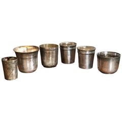 19th Century Six French Small Round Silver Cups