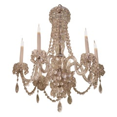 19th Century Six-Light Cut Glass Chandelier