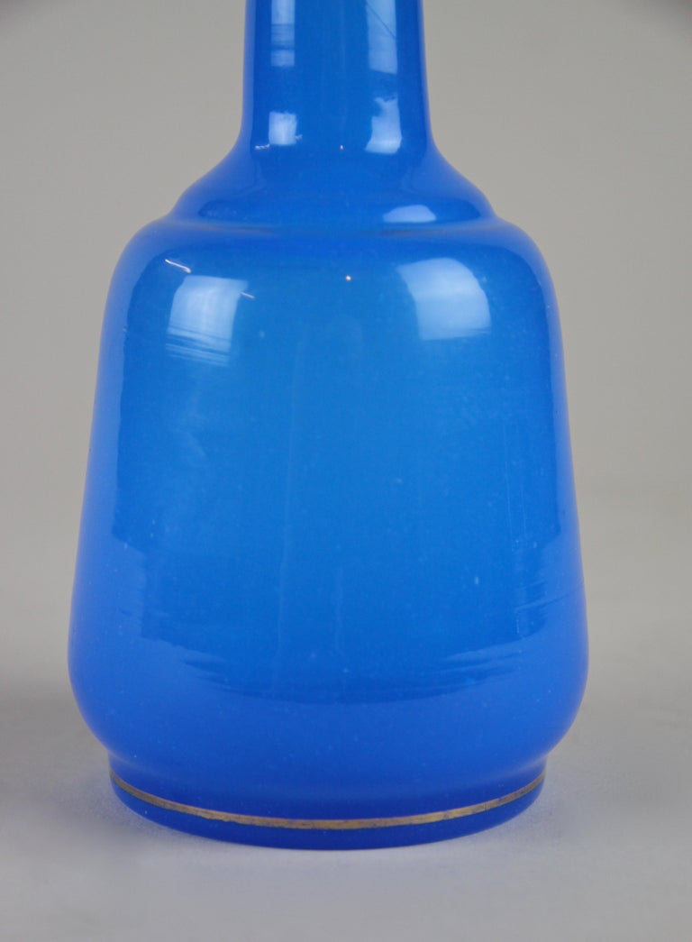 19th Century Sky Blue Glass Bottle Biedermeier Mouth Blown, Austria, circa 1840 For Sale 9