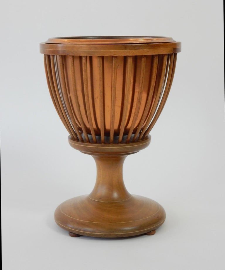 19th Century Slatted Inlaid Mahogany and Copper Jardinièr Planter For Sale 6