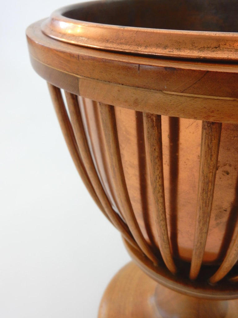 Early Victorian 19th Century Slatted Inlaid Mahogany and Copper Jardinièr Planter For Sale