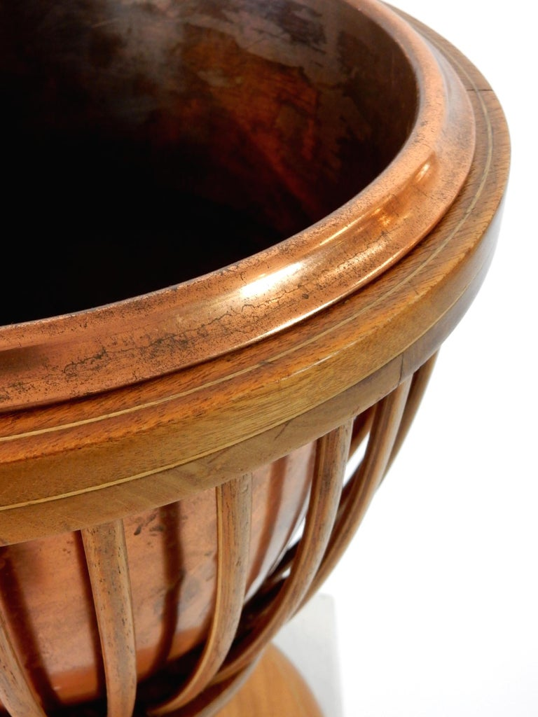 19th Century Slatted Inlaid Mahogany and Copper Jardinièr Planter For Sale 2