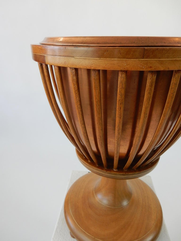 19th Century Slatted Inlaid Mahogany and Copper Jardinièr Planter For Sale 4