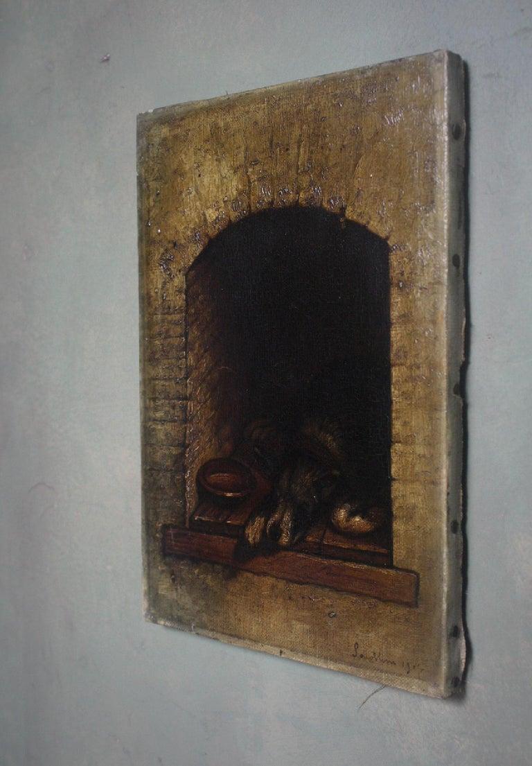 Edwardian 19th Century Slumbering Pooch Oil on Canvas 1907 Manner of Edwin Landseer For Sale