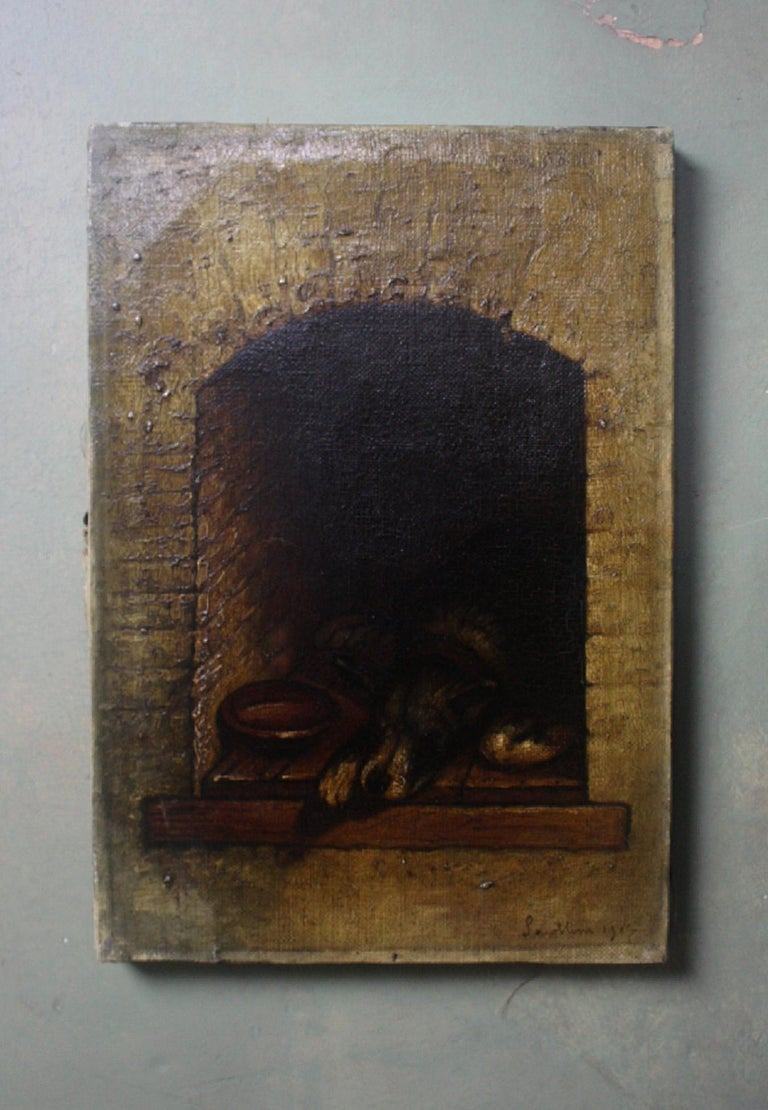 19th Century Slumbering Pooch Oil on Canvas 1907 Manner of Edwin Landseer In Good Condition For Sale In Lowestoft, GB
