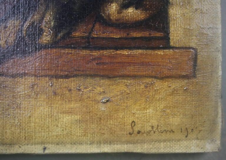 20th Century 19th Century Slumbering Pooch Oil on Canvas 1907 Manner of Edwin Landseer For Sale