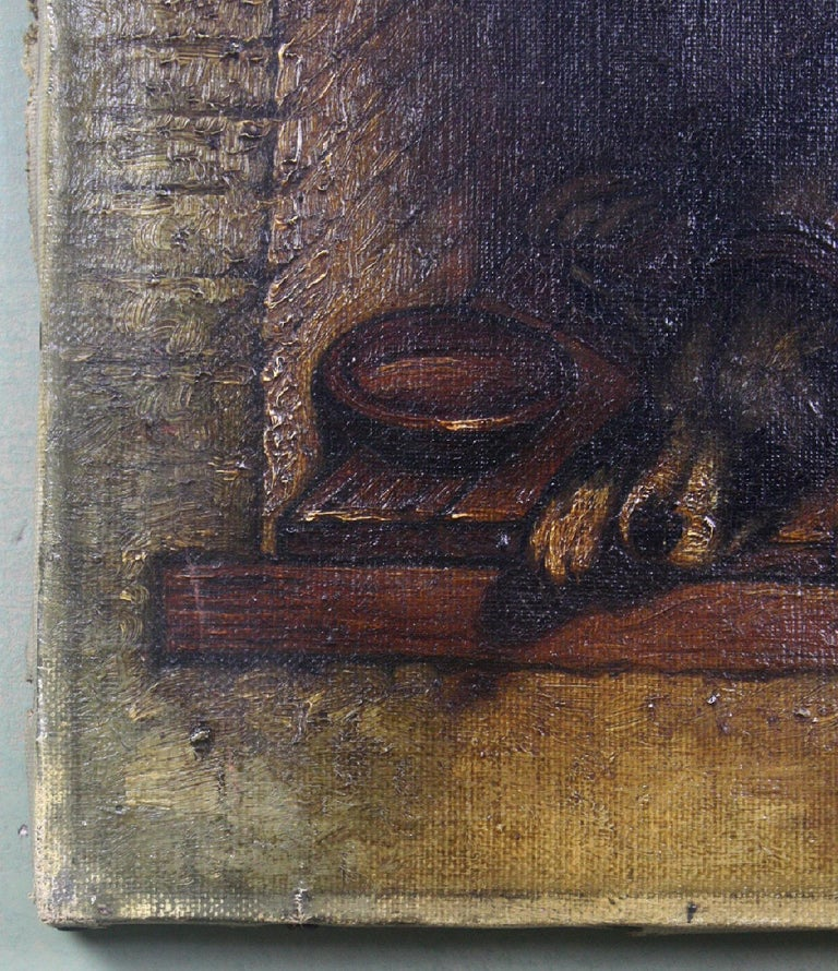 19th Century Slumbering Pooch Oil on Canvas 1907 Manner of Edwin Landseer For Sale 1
