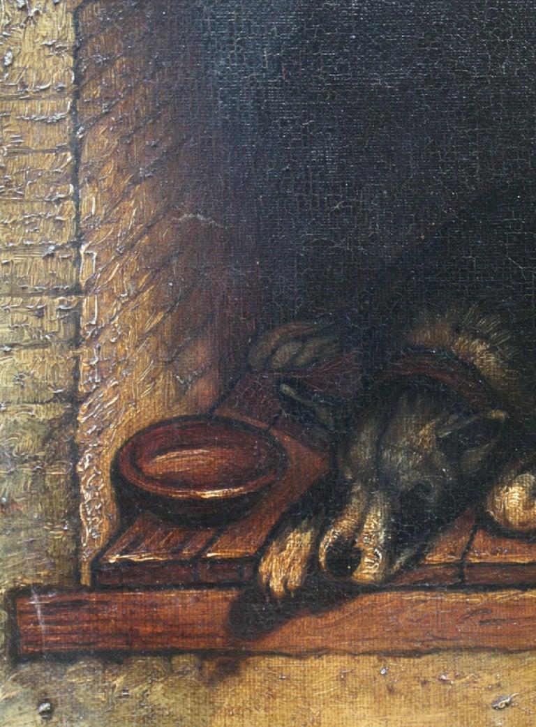19th Century Slumbering Pooch Oil on Canvas 1907 Manner of Edwin Landseer For Sale 3