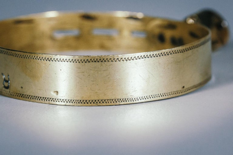 19th Century Small Brass Dog Collar with Original Padlock and Key For Sale 1