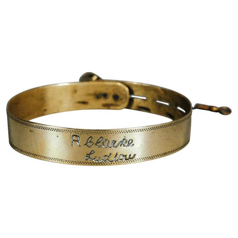 19th Century Small Brass Dog Collar with Original Padlock and Key For Sale