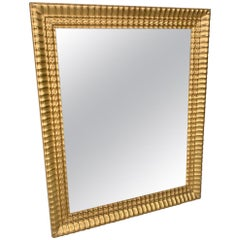 19th Century Small French Water Gilded Mirror with Ribbed Frame