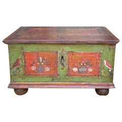 19th Century Small Green Painted Blanket Chest