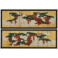 19th Century Small Japanese Screen Pair, Pine Trees and Vines on Gold Leaf