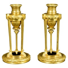19th Century Small Pair of French Chiseled Gilded Bronze Candlesticks