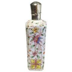 19th Century Small Porcelain Enameled Scent Perfume Bottle