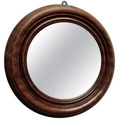 19th Century Small Round Mahogany Wall Mirror