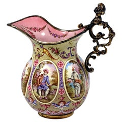 19th Century Small Viennese Enamel Jug with Watteau and Arabesque Painting