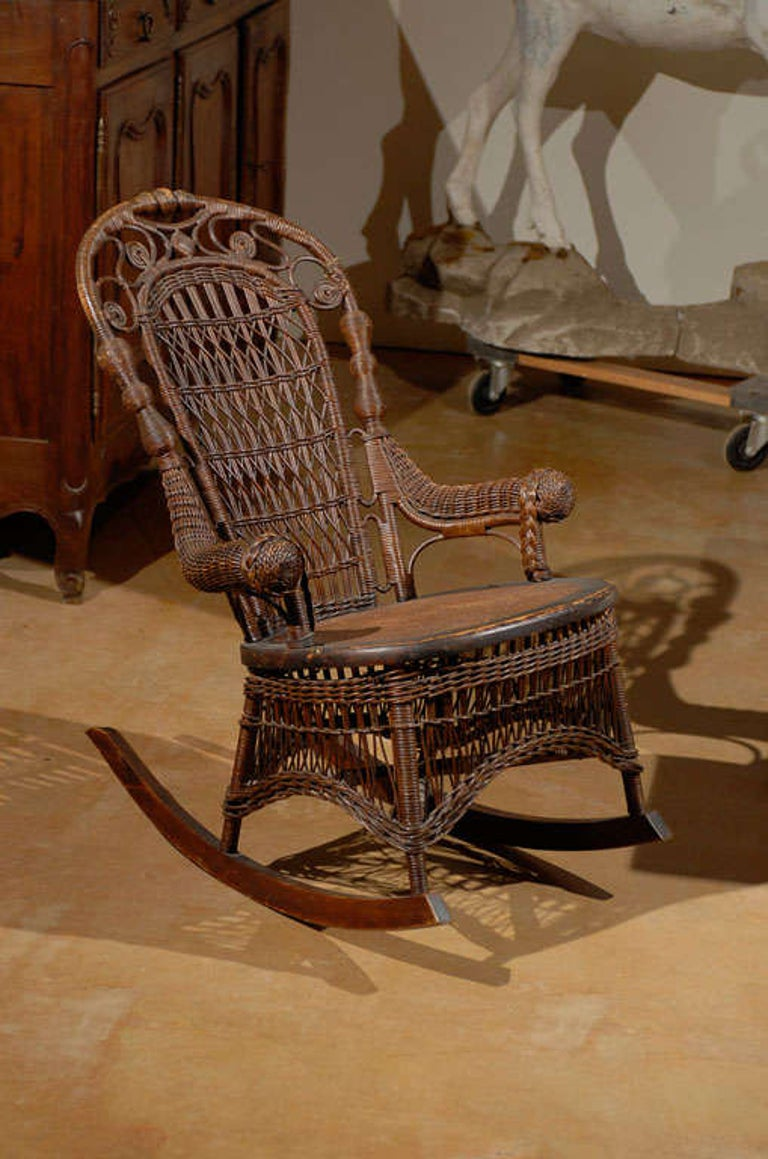 19th Century Small Wicker Rocker from England For Sale 6
