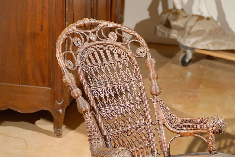 English 19th Century Small Wicker Rocker from England For Sale
