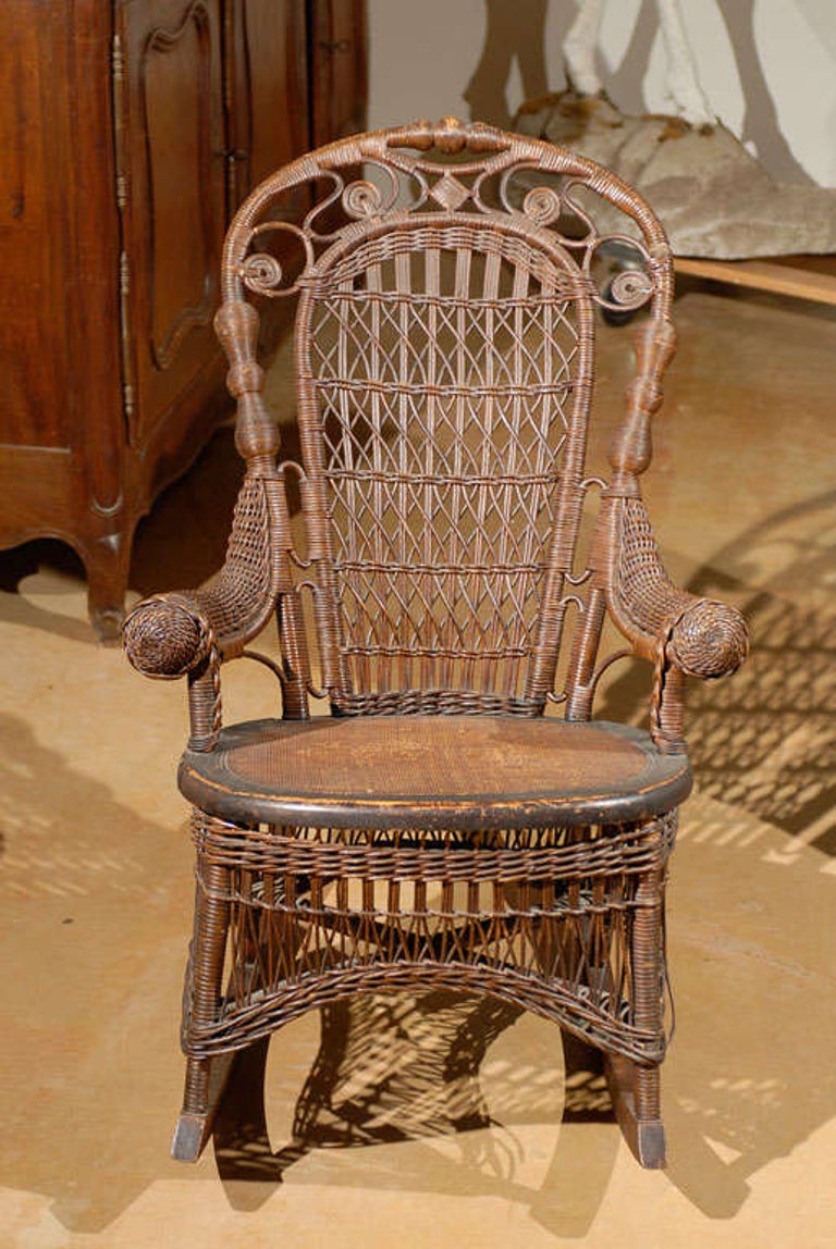 19th Century Small Wicker Rocker from England For Sale 1