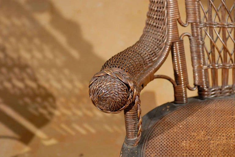 19th Century Small Wicker Rocker from England For Sale 2